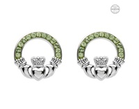 Image for Platinum Plated Peridot Claddagh Earrings