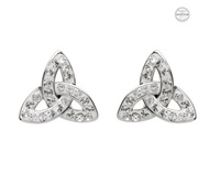 Image for Platinum Plated White Trinity Stud Earrings with Swarovski Crystals