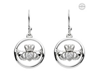 Image for Platinum Plated White Claddagh Earrings with Swarovski Crystals