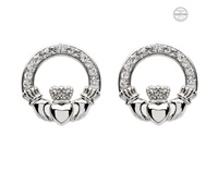 Image for Platinum Plated White Claddagh Earrings