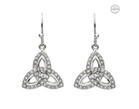 Image for Platinum Plated White Trinity Earrings with Swarovski Crystals