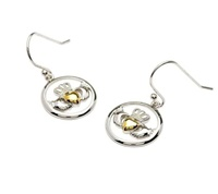 Image for Shanore Gold Plate Silver Claddagh Earrings