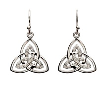 Image for Shanore Sterling Silver CZ Trinity Knot Earrings