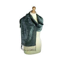 Image for Swirl Book of Durrow Inishmore Woven Celtic Pashmina Scarf - Black