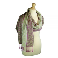 Image for Inishbofin Celtic Woven Pashmina Scarf, Raspberry & Green