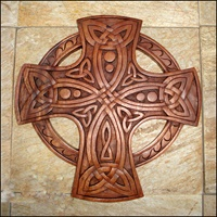 Image for Blue Frogs CR-15 Handcarved Wooden Celtic Cross