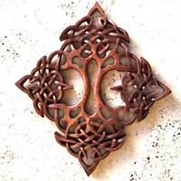 Image for Blue Frogs CM-16-9 Handcarved Wooden Double Tree of Life