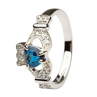 Image for Platinum Claddagh Ladies Ring with Sapphire and Diamond