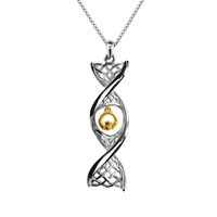 """Image for Sterling Silver Celtic DNA Necklace with Yellow Gold Plate Claddagh with 18""""/20"""" Chain"""