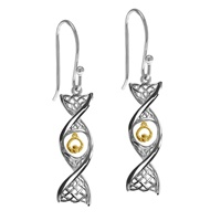 Image for Sterling Silver Celtic DNA Earrings with Yellow Gold Plated Claddagh