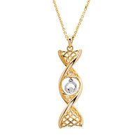 """Image for Celtic DNA 14K Yellow Gold Pendant with White Gold Claddagh with 18"""" Chain"""