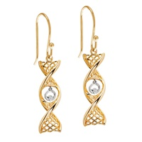Image for Celtic DNA Yellow Gold Earrings with White Gold Claddagh