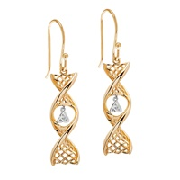 Image for 14K Yellow Gold Celtic DNA Earrings with White Gold Trinity Knot