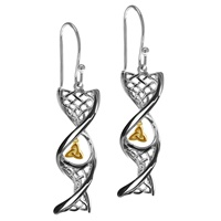 Image for Sterling Silver Celtic DNA Earrings with Yellow Gold Plated Trinity Knot