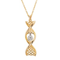 """Image for 14K Yellow Gold Celtic DNA Pendant with White Gold Tree of Life with 18"""" Chain"""