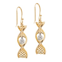 Image for 14K Yellow Gold Celtic DNA Earrings with White Gold Tree of Life