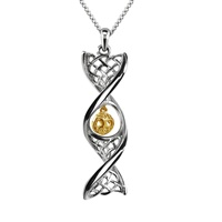 """Image for Sterling Silver Celtic DNA Pendant with Yellow Gold Plated Tree of Life with 18""""/20"""" Chain"""