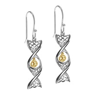 Image for Celtic DNA Sterling Silver Earrings with Yellow Gold Plated Tree of Life