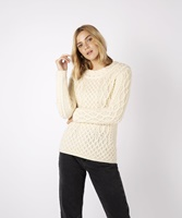 Image for Spindle Aran Cable Neck Sweater, Natural