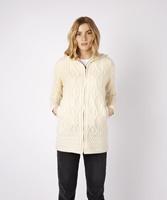 Image for Hazel Aran Zipped Hooded Coat, Natural