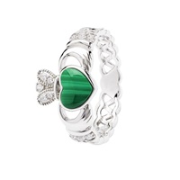 Image for Sterling Silver Malachite Claddagh Ring