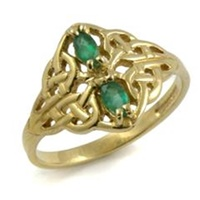 Image for 14K Yellow Gold Celtic Lace Ring With Emeralds