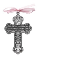 Image for BF Bless This Girl Crib Cross with Pink Ribbon Gift Boxed
