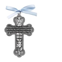 Image for BF Bless This Boy Crib Cross with Blue Ribbon Giftboxed