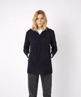 Aran Zipped Hooded Hazel Coat by Irelands Eye, Navy