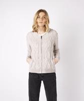 Ash Aran Zipped Hooded Sweater by Irelands Eye, Silver-Marl