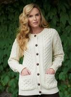 Image for Traditional Ladies Aran Cardigan Irish Sweater, Natural