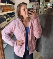 Ash Aran Zipped Hooded Sweater by Irelands Eye, Pale Pink