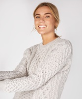 Blasket Honeycomb Stitch Aran Crewneck Irish Sweater, Silver-Marl