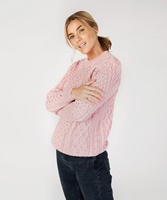 Blasket Honeycomb Stitch Aran Crewneck Irish Sweater, Pale Pink