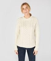 Blasket Honeycomb Stitch Aran Crewneck Irish Sweater, Natural