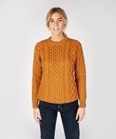Blasket Honeycomb Stitch Aran Crewneck Irish Sweater, Golden Ochre