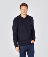 Blasket Honeycomb Stitch Aran Crewneck Irish Sweater, Navy