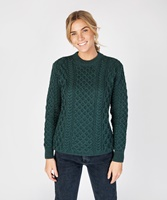 Blasket Honeycomb Stitch Aran Crewneck Irish Sweater, Evergreen
