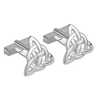 Image for Rhodium Plated Trinity Knot Cufflinks