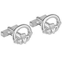 Image for Rhodium Plated Oval Claddagh Cufflinks