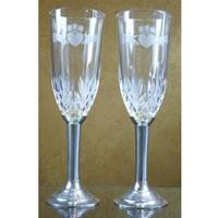 Image for Mullingar Pewter Crystal and Pewter Claddagh Flutes
