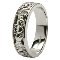 Image for 14Kt Hand-Crafted White Gold Claddagh Diamond Set Ladies Wedding Ring with Celtic Knot Work
