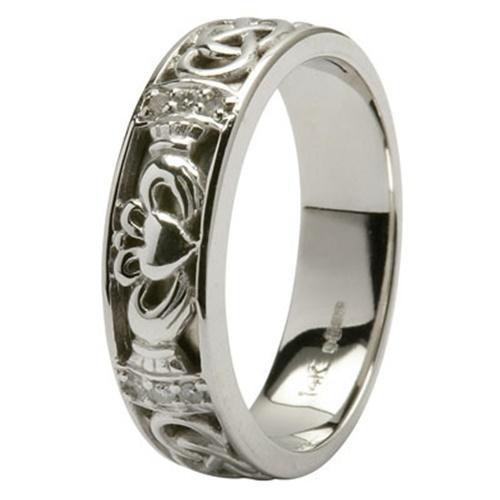 14kt Hand Crafted White Gold Claddagh Diamond Set Ladies Wedding