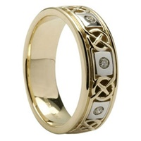 Image for 14K Yellow Gold Diamond Celtic Knotwork Wedding Ring