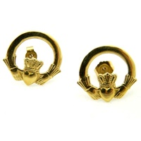 Image for 14k Yellow Gold Celtic Claddagh Post Earrings