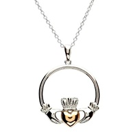Image for Two Toned Retro Claddagh Pendant