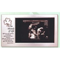 Image for Satin Silver Irish Sonogram Horizontal Frame with Shamrock