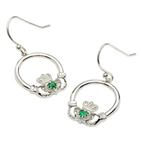 Image for Retro Claddagh Earrings with Green Cubic Zirconium