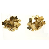 Image for Yellow Gold Shamrock Cluster Earrings