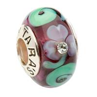 Image for Purple Shamrock and Green Spiral Glass Bead with Crystal